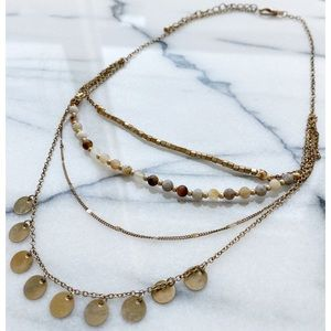 Matte Gold Bohemian Beaded Layered Necklace